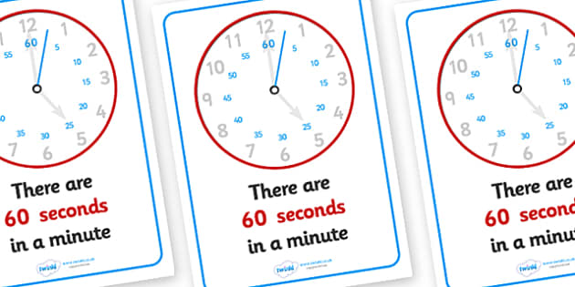 Visual Prompts Display Posters (Seconds In A Minute) - seconds, minute, visual prompt, aid, learning, time, 60 seconds, how many seconds in a minute
