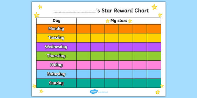 Star 7 Day Reward Chart - star, reward chart, reward, chart, awards, award chart, behaviour management, class management, weekly chart, themed reward chart