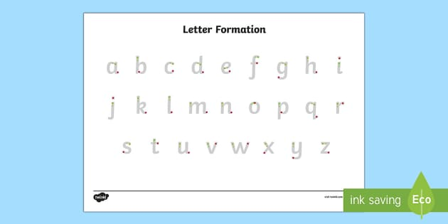 Letter Formation Alphabet Handwriting Practice Sheet Lowercase