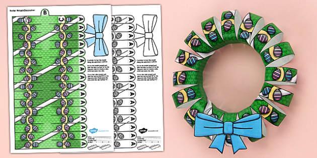 3D Easter Wreath Decoration Display Printable - 3d, easter wreath, easter, wreath, printable, paper model, paper craft, paper, model, craft, decoration