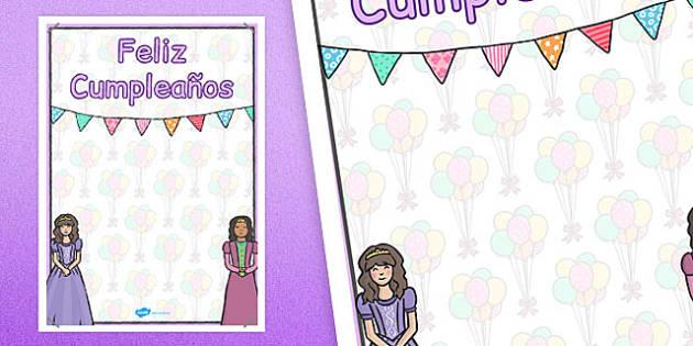 Spanish Happy Birthday Posters Princess Themed - spanish, display