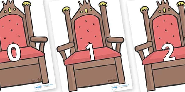 Numbers 0-31 on Thrones (Plain) - 0-31, foundation stage numeracy, Number recognition, Number flashcards, counting, number frieze, Display numbers, number posters
