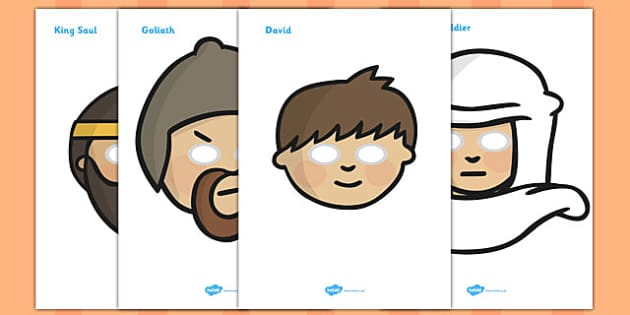 David and Goliath Story Role Play Masks - David and Goliath, David, King Saul, Goliath, role play mask, role play, masks, Philistine army, Israelite, sling, stones, sling and stones, death, kill, small, giant, clever
