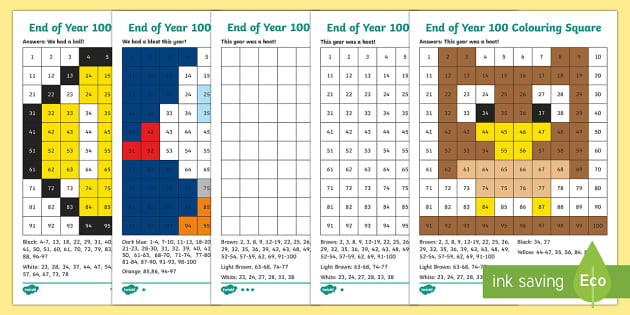 End of Year Colour by Number 100s Chart Activity Sheets - End of Year, end of year maths, end of year worksheet, end of year activity sheet, end of the year,