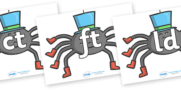 Final Letter Blends on Spiders - Final Letters, final letter, letter blend, letter blends, consonant, consonants, digraph, trigraph, literacy, alphabet, letters, foundation stage literacy