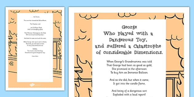 George Who Played with a Dangerous Toy Poem Print-Out - poem, print out, poetry, key stage 2 poetry, ks2, george who played with a dangerous toy, hilaire belloc
