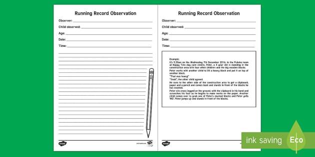EYFS Running Record Observation Record - New Zealand Back to School, running record, observations, assessment, tacker
