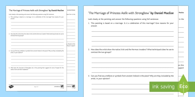 The Marriage of Princess Aoife with Strongbow Art Appreciation Activity Sheet - Irish Art Resources, art strands, display resources, art appreciation, activity sheet, worksheet, ar