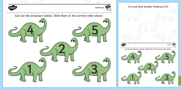 Dinosaur Themed Cut and Stick Number Ordering Activity 1 to 5 - ordering, number ordering, 1 to 5, dinosaurs eyfs, dinosaurs ks1