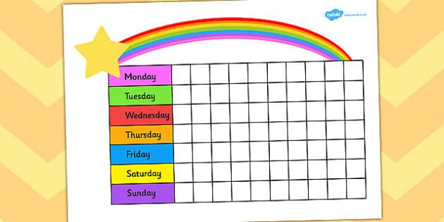 Editable Rainbow Reward Chart - rainbow, reward, award, chart