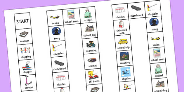 Two Syllable 'SC', 'SK' Board Game - sc, sk, board game, syllable