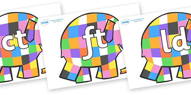 Final Letter Blends on Patchwork Elephant to Support Teaching on Elmer - Final Letters, final letter, letter blend, letter blends, consonant, consonants, digraph, trigraph, literacy, alphabet, letters, foundation stage literacy