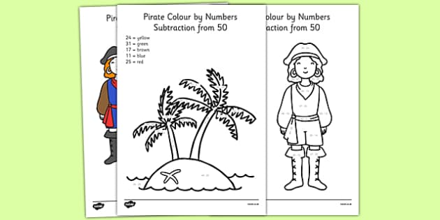 Pirate Themed Subtraction From 50 Colour by Numbers - pirate, subtraction, from 50, colour by numbers