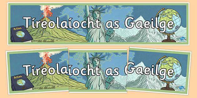 Irish Geography Banner Gaeilge - Irish, gaeilge, geography, mapping, banner, display
