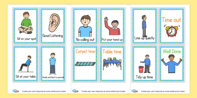 Behaviour prompt cards - Rules & Behaviour Primary Resources, golden time, routines, reward