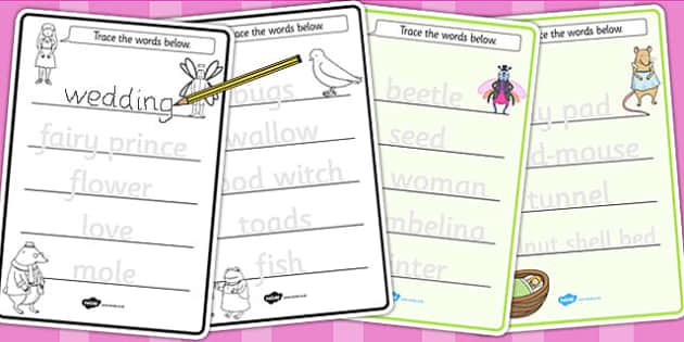 Thumbelina Trace the Words Worksheets - fine motor skills, story