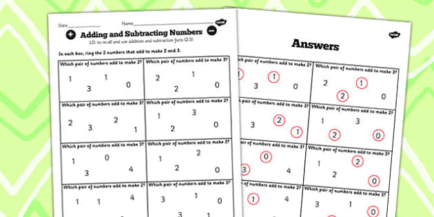 Number Facts Finding Pairs Worksheet 2-3 - number, facts, pairs