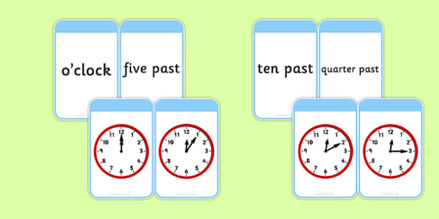 Telling The Time Matching Flashcards - time, matching, flashcards
