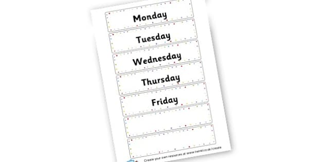 Days of the Week - Words & Vocab Primary Resources, literacy, keywords, cvc, phonemes