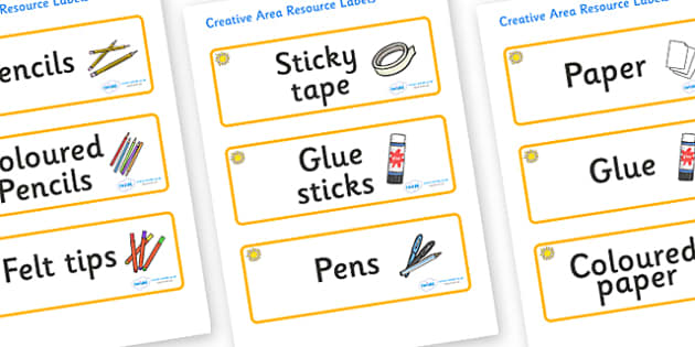 Sunshine Themed Editable Creative Area Resource Labels - Themed creative resource labels, Label template, Resource Label, Name Labels, Editable Labels, Drawer Labels, KS1 Labels, Foundation Labels, Foundation Stage Labels