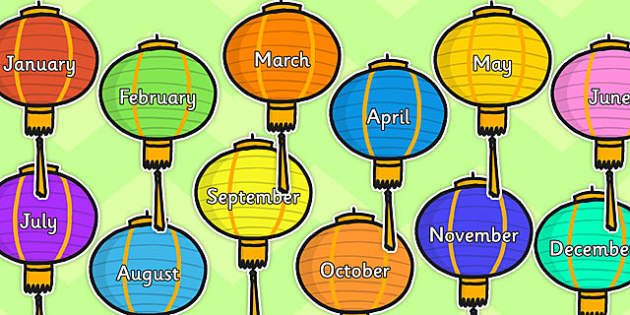 Months of year on Chinese Lanterns - chinese lanterns, months, year