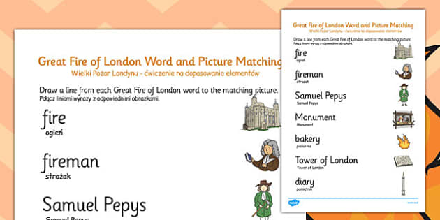 The Great Fire of London Word and Picture Matching Worksheet Polish Translation - polish