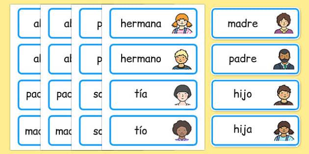 Tarjetas de vocabulario - Mi familia - padre, madre, hermano, abuelo, parientes, árbol de familia