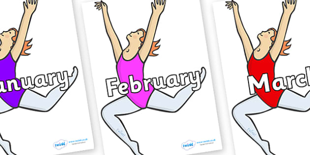Months of the Year on Ballet Dancers - Months of the Year, Months poster, Months display, display, poster, frieze, Months, month, January, February, March, April, May, June, July, August, September