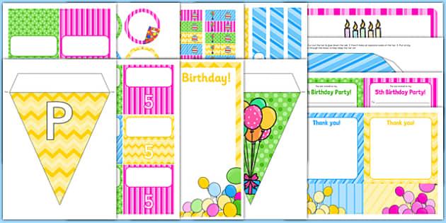 5th Birthday Party Pack - 5th birthday party, 5th birthday, birthday party, pack