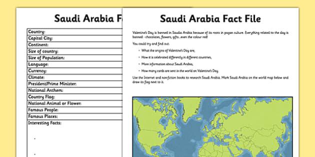 Saudi Arabia Fact File Activity Sheet - saudia arabia, fact file, research, worksheet