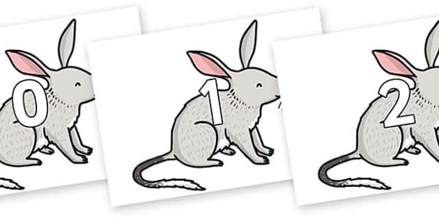 Numbers 0-100 on Bilby - 0-100, foundation stage numeracy, Number recognition, Number flashcards, counting, number frieze, Display numbers, number posters