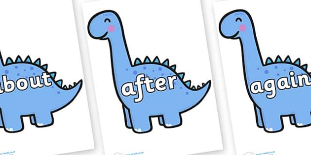 KS1 Keywords on Diplodocus Dinosaurs - KS1, CLL, Communication language and literacy, Display, Key words, high frequency words, foundation stage literacy, DfES Letters and Sounds, Letters and Sounds, spelling