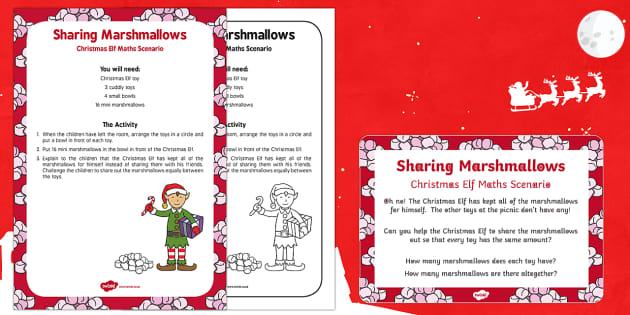Sharing Marshmallows Christmas Elf Maths Scenario