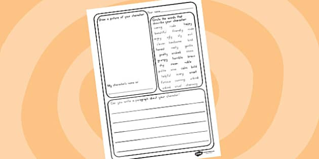 Design A Character Writing Frame - stories, characters, design