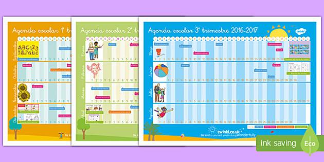 Calendario del curso escolar anual