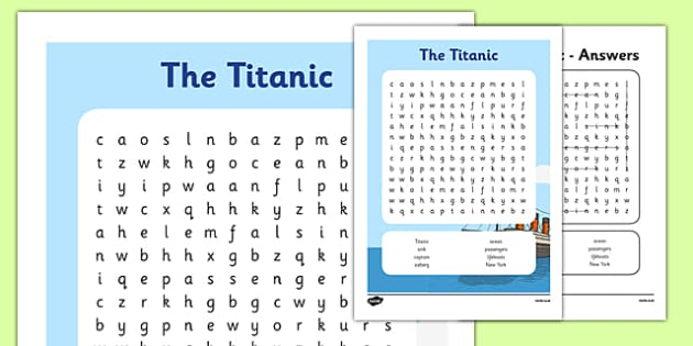 The Titanic Word Search Worksheets - The Titanic, resources, activity, Iceberg, Ship, Liner, White Star Line, disaster, New York, sink, lifeboat, boat, captain, survivors