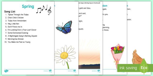 Spring Song Lyrics - Spring, Easter, Care Homes, Elderly Care, Ideas, Support, Activity Co-ordinators, Season, Sing, Musi