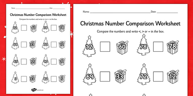 Christmas Number Comparison Worksheet - worksheets, numbers