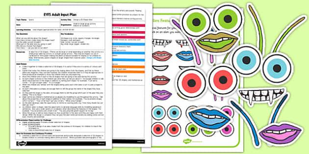 Design a 2D Shape Alien EYFS Adult Input Plan - 2d, shape, alien