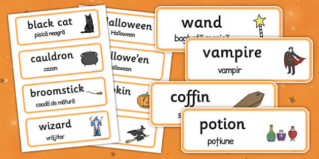 Halloween Word Cards Romanian Translation - romanian, halloween, hallowe'en, word cards, word, cards