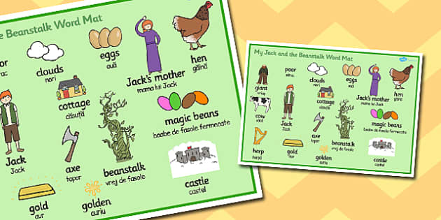 Jack and the Beanstalk Word Mat Romanian Translation - romanian