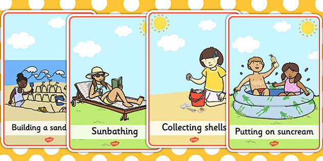 At the Seaside Movement Cards - seaside, movement cards, cards