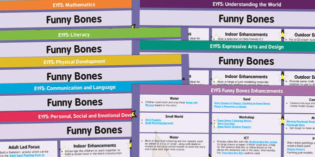 EYFS Lesson Plan and Enhancement Ideas to Support Teaching on Funnybones - Early Years, continuous provision, early years planning, adult led, Funnybones, Funny Bones, Janet and Allan Ahlberg, skeletons, Halloween