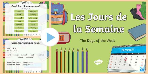 CfE French Days of the Week PowerPoint - French days of the week, French PowerPoint, days of the week, les jours de la semaine,Scottish-trans