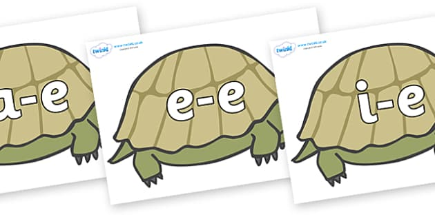 Modifying E Letters on Tortoises - Modifying E, letters, modify, Phase 5, Phase five, alternative spellings for phonemes, DfES letters and Sounds