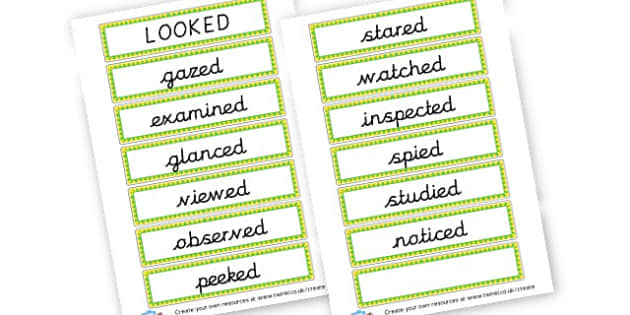 Alternative Words for Looked - Grammar Activity Primary Resources, grammar aids, activities