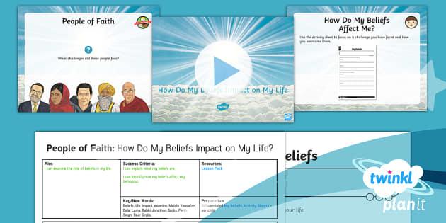 PlanIt - RE Year 4 - People of Faith Lesson 6: How Do My Beliefs Impact on My Life? Lesson Pack - Beliefs, life, impact, examine, Malala Yousafzai, Dalai Lama, Rabbi Jonathan Sacks, Fauja Singh, Bea