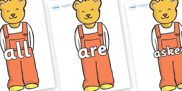 Tricky Words on Bears (Whatever Next) to Support Teaching on Whatever Next! - Tricky words, DfES Letters and Sounds, Letters and sounds, display, words