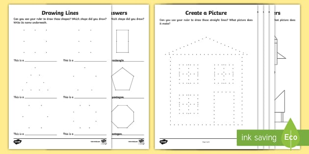 Drawing Lines Using A Ruler Ks1 : Create a shape using ruler activity sheets shapes dotted