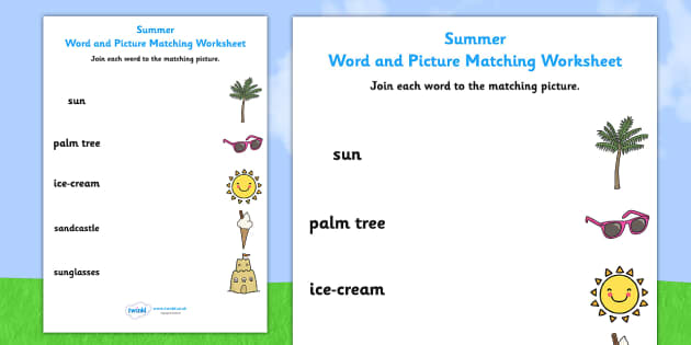 Summer Differentiated Word and Picture Matching Worksheets